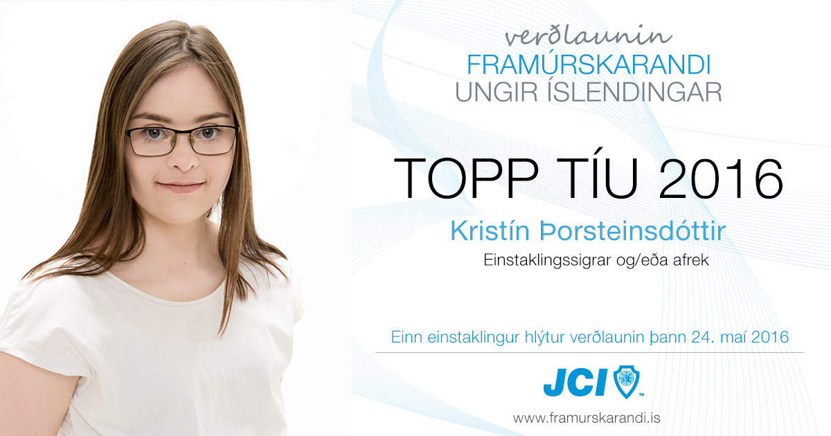 Kristín Þorsteinsdóttir - Topp 10 2016 - Framúrskarandi ungir Íslendingar