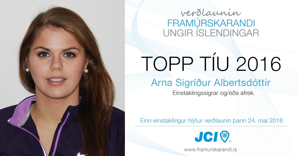 Arna Sigríður Albertsdóttir - Topp 10 2016 - Framúrskarandi ungir Íslendingar