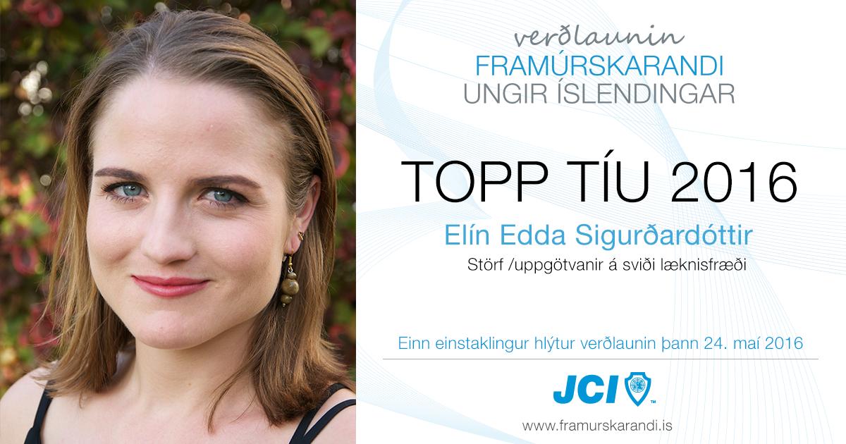 Elín Edda Sigurðardóttir - Topp 10 2016 - Framúrskarandi ungir Íslendingar